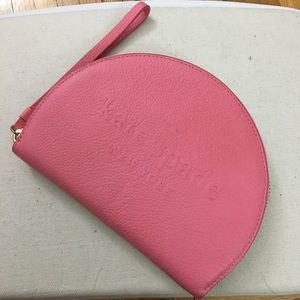 kate spade half moon pink leather wristlet